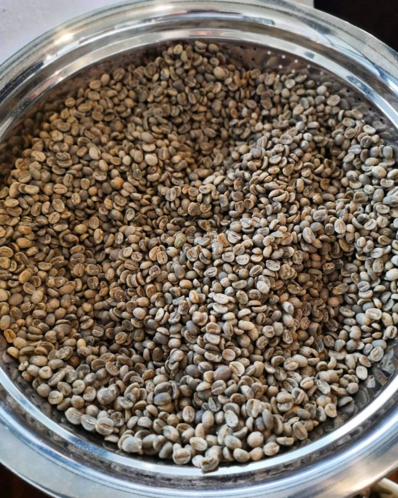 A bowl filled with lightly-roasted coffee beans.